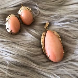 Antique Coral Charm and Earring Set